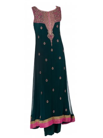 Mehdi Green Anarkali Suit with fuchsia embroidery