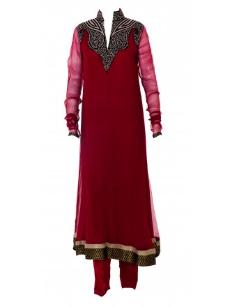 Mehdi Red High Neck Anarkali Suit