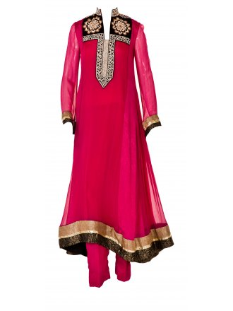 Mehdi Hot Pink Suit with floral design and diamonte
