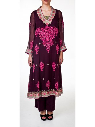 Nickie & Nina Nickie Nina Aubergine Anarkali Suit with pink embroidery