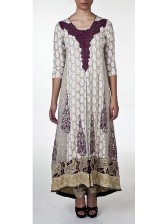 Sana Safinaz Cream and Purple Anarkali Suit