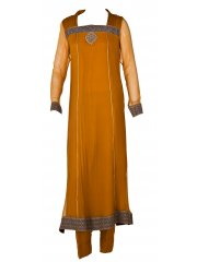 Mehdi Mustard square neck suit