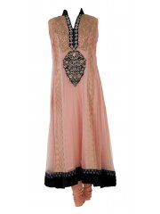 Waseem Noor Peach and Black Anarkali Suit