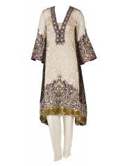 Sana Safinaz Cream and Brown Paisley Print Suit